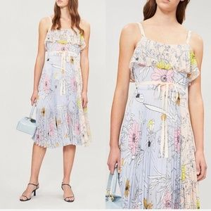 TOPSHOP Pastel Pleated Floral Midi Dress NWT